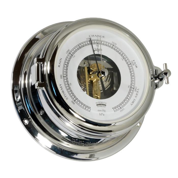 Schatz Barometer mm Hg, hPa med åben skive - forkromet messing